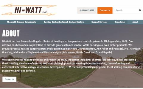 Screenshot of About Page hiwattinc.com - Hi-Watt Inc. | - captured July 19, 2018