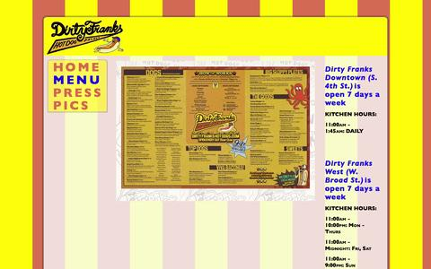 Screenshot of Menu Page dirtyfrankscolumbus.com - Food Menu - captured March 30, 2016