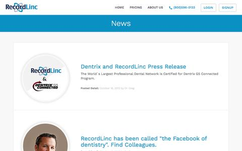 Screenshot of Press Page recordlinc.com - Latest News of Recordlinc - Dentist to Dentist Communication Tool - captured July 12, 2018