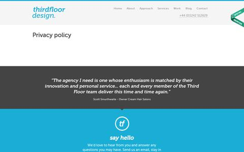 Screenshot of Privacy Page thirdfloordesign.co.uk - Privacy policy / Third Floor Design - captured Sept. 30, 2014
