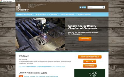 Screenshot of Home Page sidneyshelbychamber.com - Sidney-Shelby County Chamber of Commerce | Sidney, OH - Home - captured Oct. 18, 2018