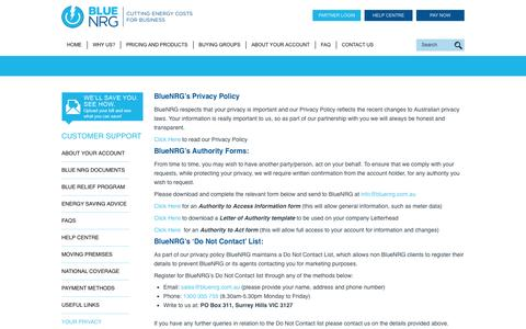 Screenshot of Privacy Page bluenrg.com.au - Your Privacy | BlueNRG - captured July 29, 2016