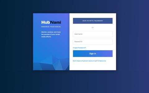 Screenshot of Login Page hubnami.com - HubNami - captured July 13, 2018