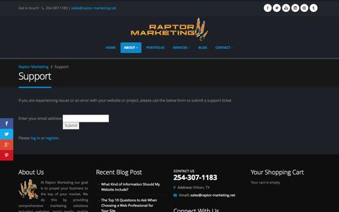Screenshot of Support Page raptor-marketing.net - Support - - captured Jan. 13, 2016