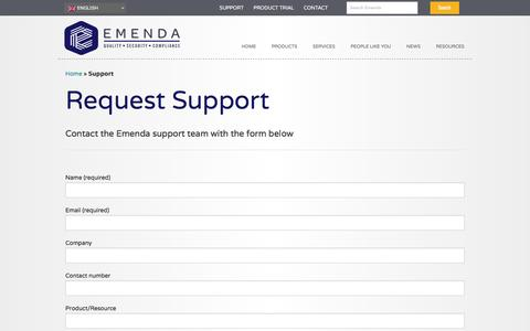Screenshot of Support Page emenda.com - Support - Emenda - captured Nov. 5, 2016