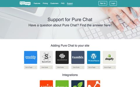 Screenshot of Support Page purechat.com - Free Live Chat for Wordpress, Shopify, Tumblr, SquareSpace - captured Nov. 18, 2015
