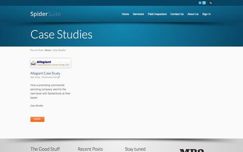 Screenshot of Case Studies Page spidersuite.com - Case Studies - captured Oct. 22, 2014