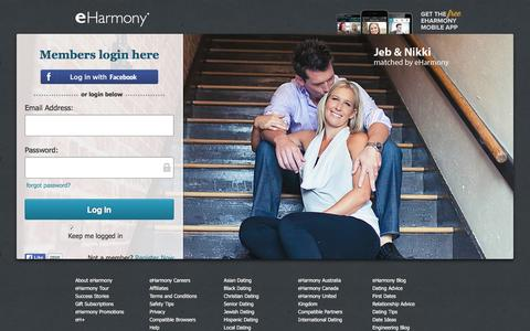 Screenshot of Login Page eharmony.com - eHarmony | Log-In to Our Online Dating Site for Local Singles - captured Feb. 23, 2016