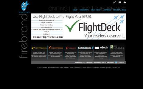 Screenshot of Home Page firebrandtech.com - Firebrand Technologies - Digital Publishing Solutions - captured Oct. 6, 2014