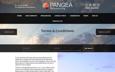 Screenshot of Terms Page pangea-resourcing.com - Terms & Conditions - Pangea Resourcing - captured May 13, 2017