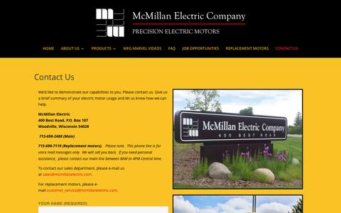 Screenshot of Contact Page mcmillanelectric.com - Contact OEM Electric Motor Manufacturer | McMillan Electric Motor Company | McMillan Electric - captured Nov. 28, 2016
