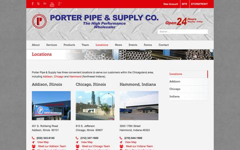 Screenshot of Locations Page porterpipe.com - Porter Pipe & Supply   –  Locations - captured Oct. 2, 2014