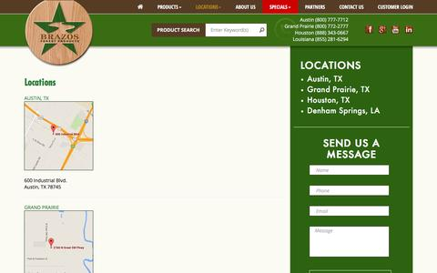 Screenshot of Locations Page brazosfp.com - Locations - Brazos Forest Products | Distributor of Quality Hardwood, Plywood and Custom Moulding in Texas & Louisiana - captured Nov. 23, 2016