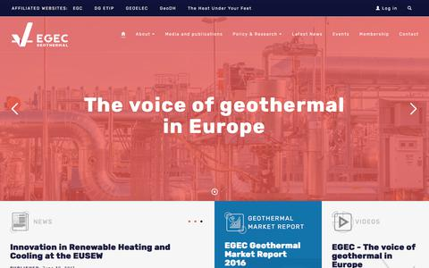 Screenshot of Home Page egec.org - EGEC - The Voice of Geothermal in Europe - captured Aug. 28, 2017
