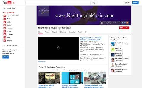 Screenshot of YouTube Page youtube.com - Nightingale Music Productions  - YouTube - captured Nov. 3, 2014