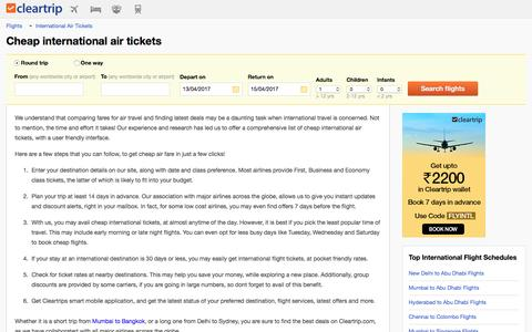 Cheap International Air Tickets, Air Tickets Booking for International Flights at Cleartrip