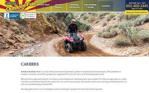 Screenshot of Jobs Page arizonaoutdoorfun.com - Career Listings | Arizona Outdoor Fun - captured July 30, 2018