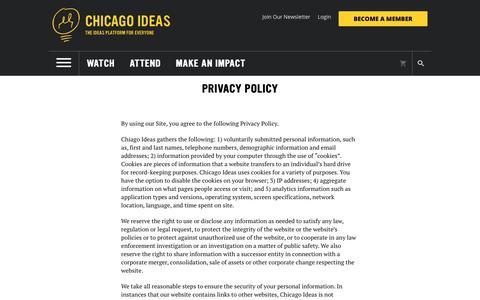 Screenshot of Privacy Page chicagoideas.com - Chicago Ideas - captured Nov. 10, 2018