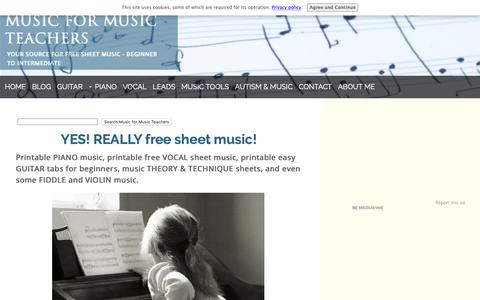 Screenshot of Home Page music-for-music-teachers.com - Free Sheet Music for Teachers of Piano, Voice, and Guitar - captured Oct. 19, 2018