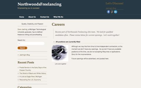 Screenshot of Jobs Page northwoodsfreelancing.com - Careers | NorthwoodsFreelancing - captured Oct. 9, 2014