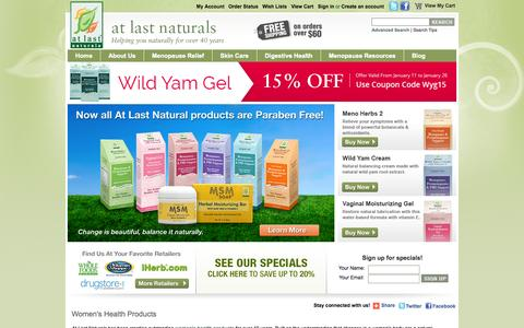Screenshot of Home Page atlastnaturals.com - Natural Menopause Relief   At Last Naturals - captured Jan. 27, 2015