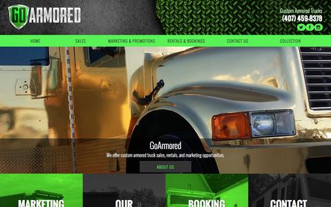 Screenshot of Home Page goarmored.com - Money Truck Rental & Sales | Orlando Armored Limo Service - captured Nov. 10, 2016