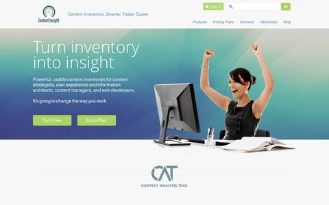 Screenshot of Home Page content-insight.com - Content Inventory and Analysis Made Easier | Content Insight - captured Sept. 19, 2014