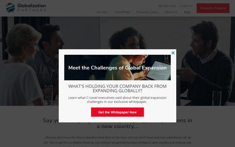 Screenshot of Services Page globalization-partners.com - Global Employer Solutions | Globalization Partners - captured June 2, 2018