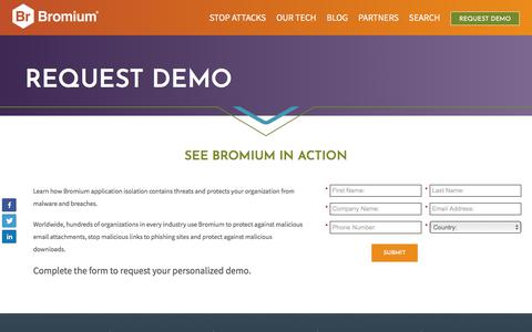 Screenshot of Demo Page bromium.com - See Bromium in Action - Schedule Anti-Malware Demo - Bromium - captured April 10, 2018