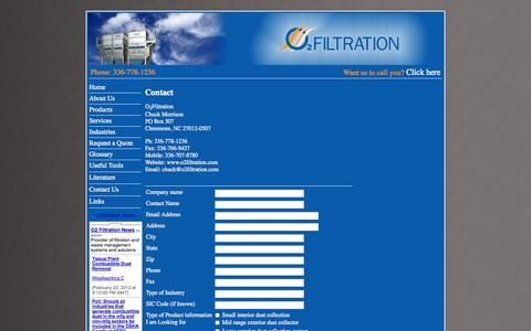 Screenshot of Contact Page o2filtration.com - Contact O2Filtration for  Dust Collection, Fume Collection, Energy Management Systems, Material Separator, & Briquette Process - captured Oct. 27, 2014