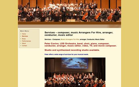 Screenshot of Services Page orchestracomposer.com - Services- Music Arrangers For Hire | Orchestra Composer - captured Oct. 1, 2018