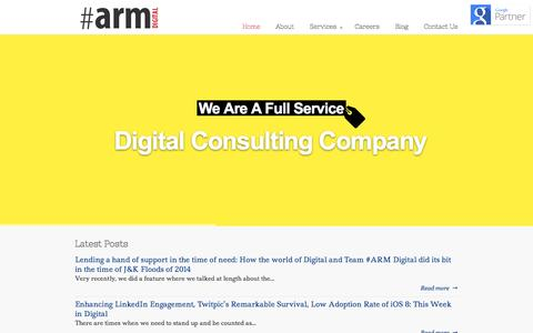 Screenshot of Home Page armdigital.in - #ARM Digital : Full Service Digital Consulting Company India - captured Sept. 23, 2014