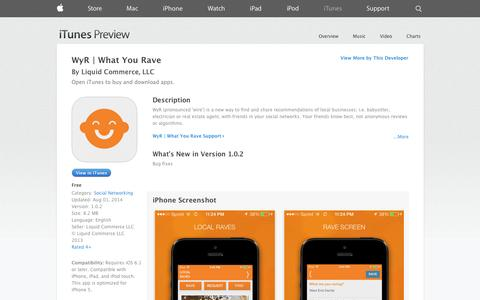 Screenshot of iOS App Page apple.com - WyR | What You Rave on the App Store on iTunes - captured Oct. 26, 2014