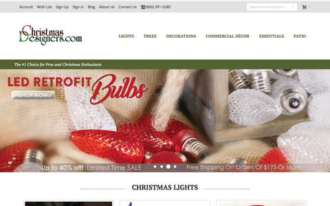 Screenshot of Home Page christmasdesigners.com - LED Christmas Lights, Christmas Trees - Christmas Designers - captured Sept. 11, 2017