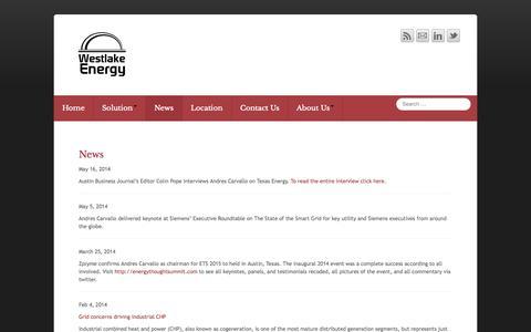 Screenshot of Press Page westlakeenergy.com - News - Westlake Energy - captured Oct. 7, 2014
