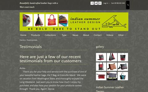 Screenshot of Testimonials Page indiansummerleather.com - Leather Bags | Leather Bags And Purses | Leather Balsam - captured Oct. 30, 2014