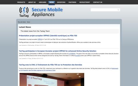 Screenshot of Press Page taztag.com - Latest News - captured Oct. 7, 2014