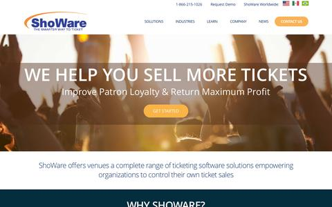 Screenshot of Home Page showare.com - ShoWare | Sell More Tickets Via Integrated Ticketing Software Solutions - captured Oct. 1, 2015