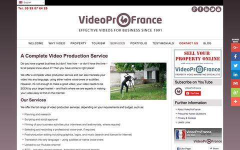 Screenshot of Services Page videoprofrance.com - A complete video production service | VideoProFrance Marketing Videos - captured June 26, 2016