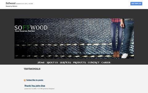Screenshot of Testimonials Page softwoodtextiles.com - TESTIMONIALS - Softwood - captured Feb. 15, 2016