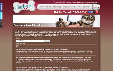 Screenshot of FAQ Page lexingtonveterinarian.com - Frequently Asked Questions   Animal Care Clinic   Vet Clinic in Lexington, KY - captured Oct. 4, 2014