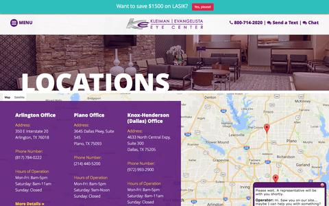 Screenshot of Locations Page lasiksurgery.com - Our Locations - Kleiman|Evangelista Eye Center - captured Nov. 27, 2016
