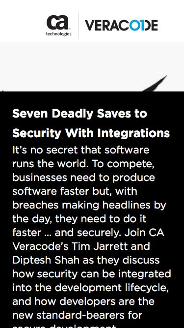 Seven Deadly Saves to Security With Integrations | CA Veracode