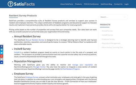 Screenshot of Products Page satisfacts.com - Resident Survey Products - SatisFacts - captured Nov. 19, 2016