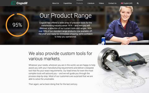 Screenshot of Products Page cogsdill.co.uk - Hole Finishing Solutions | Cogsdill Precision Tooling Product Range - captured Sept. 28, 2018