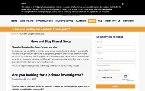 Screenshot of Press Page phersei.com - Investigation agency News and Blog | Phersei Group srl - captured July 17, 2018