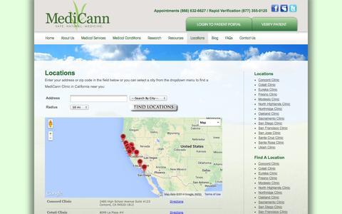 Screenshot of Locations Page medicann.com - Locations - MediCann - captured Sept. 22, 2014