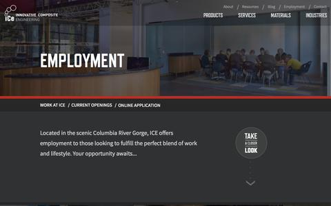 Screenshot of Jobs Page innovativecomposite.com - Employment • Innovative Composite Engineering - captured Oct. 6, 2014