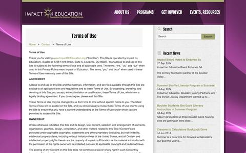 Screenshot of Terms Page impactoneducation.org - Terms of Use «  Impact on Education - captured Sept. 30, 2014