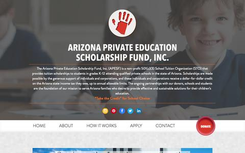 Screenshot of Home Page apesf.org - Arizona Private Education Scholarship Fund | Tax Credits - captured Oct. 4, 2014